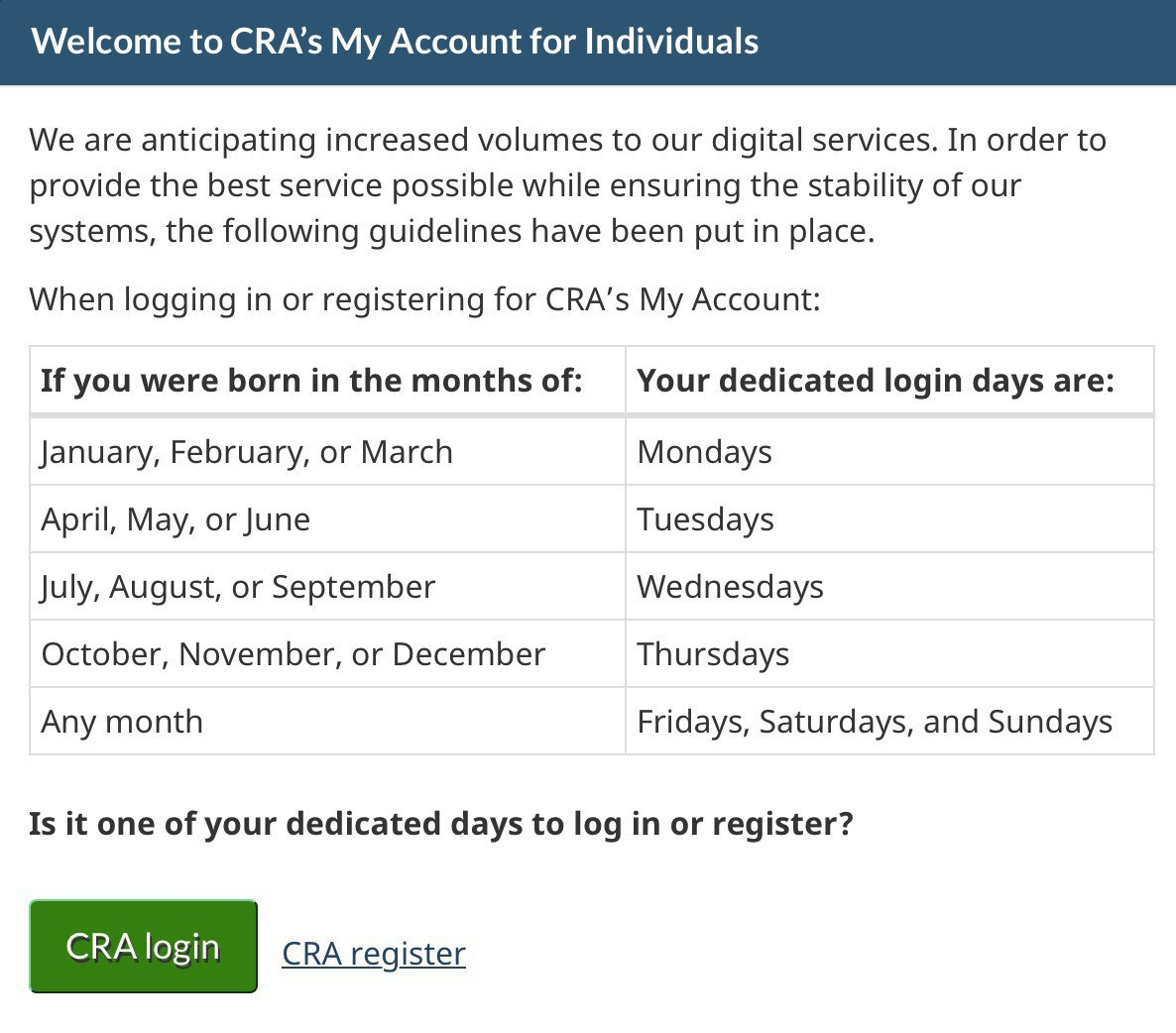Photo of CRA prompt to login only on specific days relative to your birthday.