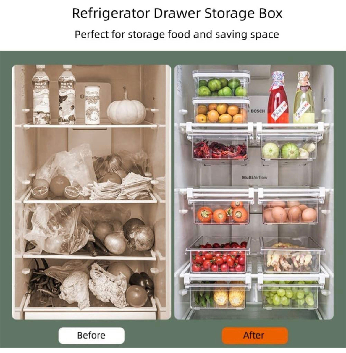 Before and after photo. Before has no colour and has a lot of food all wrapped in bags. After has fruit and healthy foods displayed in drawers.
