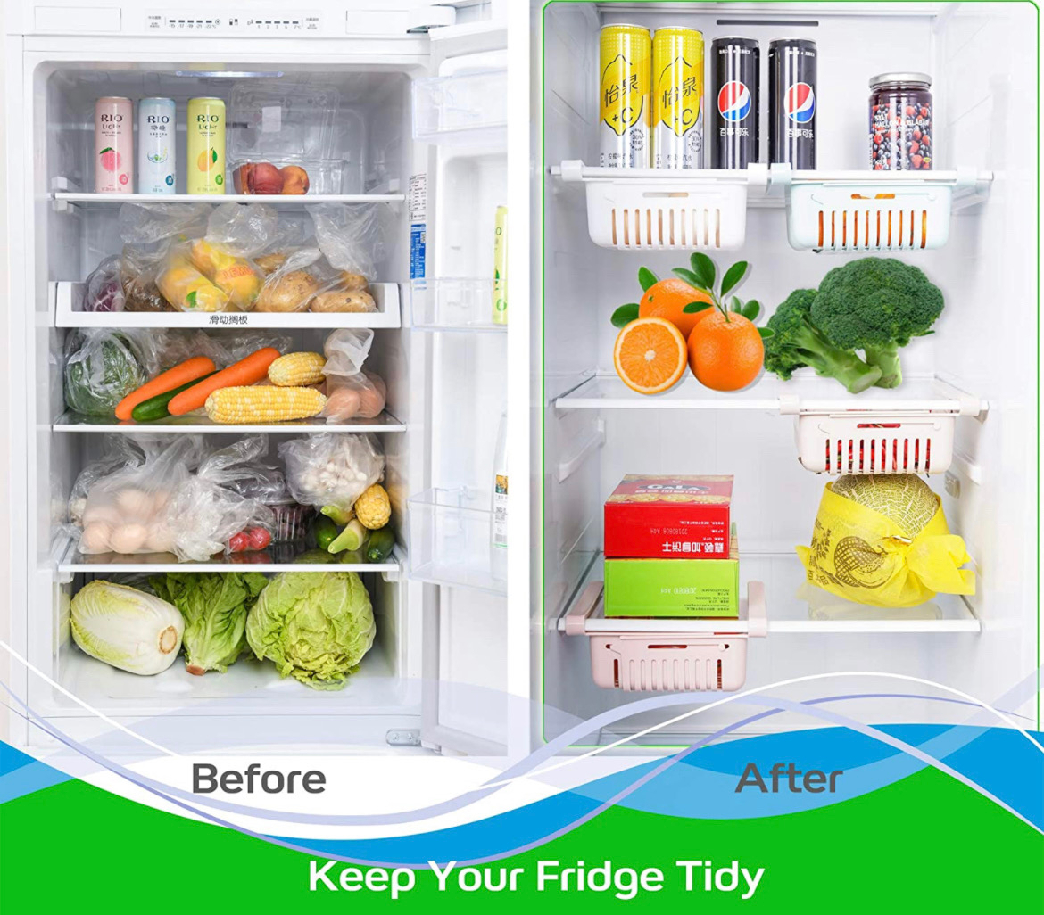 Before and after. Before has lots of food in a fridge. After has only a few things badly photoshopped in.