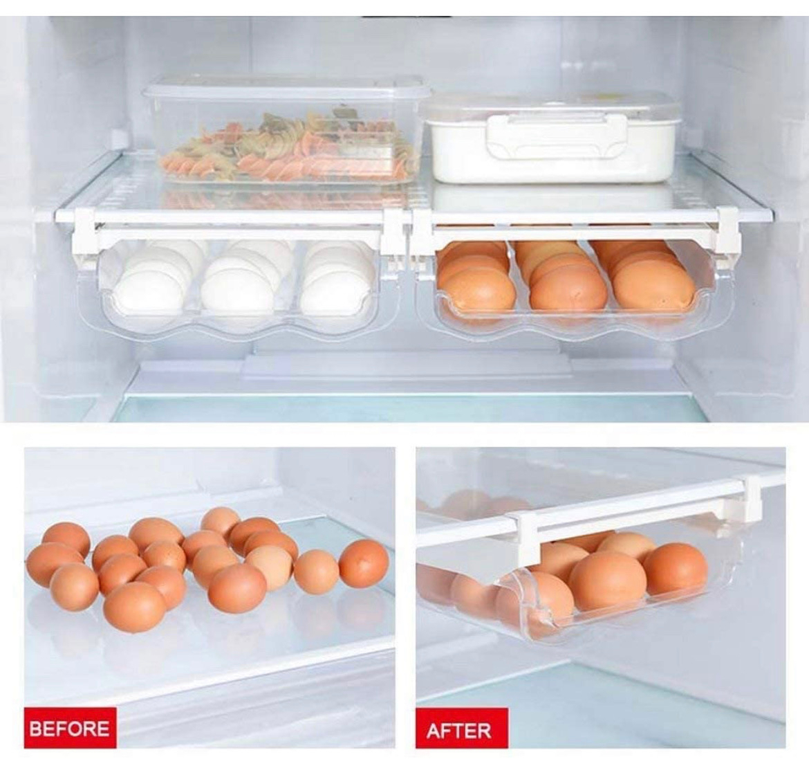 Before and after scene. Before has a pile of eggs on the bottom of the fridge. After has an egg rack.